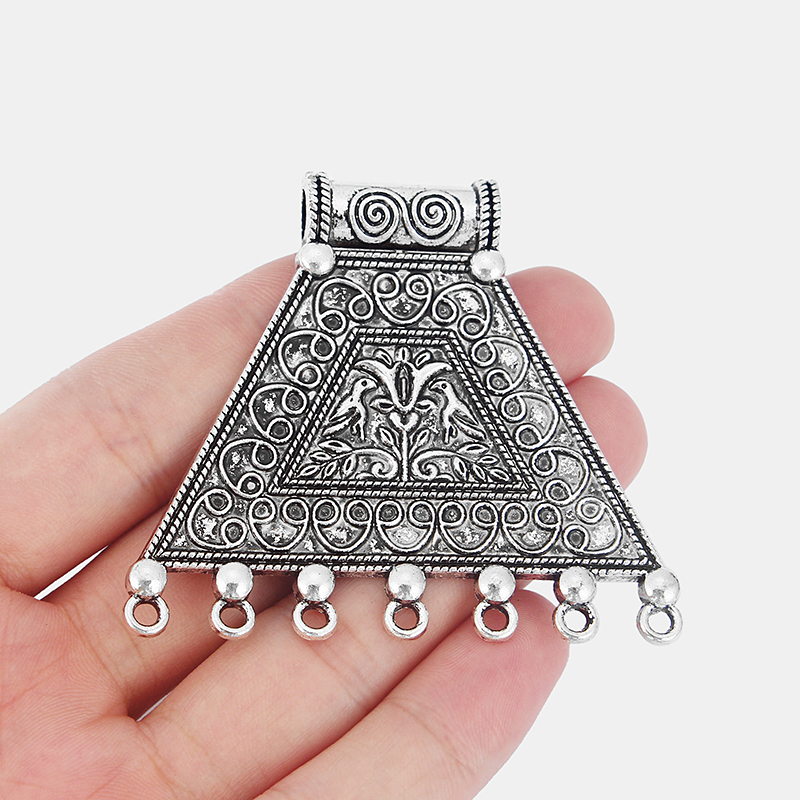 2x Large Silver Triangle Charm Connector Carved Ganesha Elephant Buddha Pendant