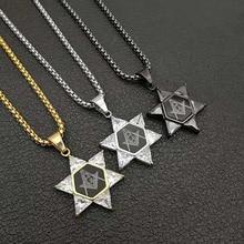 лучшая цена Jewish Magen Star of David Necklace Men/Women Israel Judaica Hebrew Jewelry Masonic Pendant Gold/Silver/Black Color