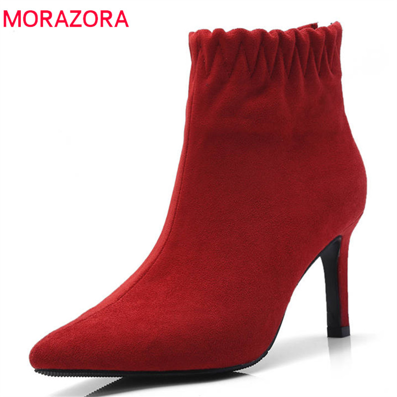 цена на MORAZORA 2018 newest ankle boots for women pointed toe flock high heels boots zipper simple autumn boots classic dress shoes