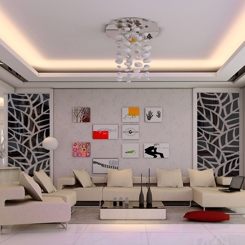 3D Acryl Spiegel Decoratieve Muur Sticker Plant Patroon Spiegel Muursticker Home Woonkamer Muur Kamer Mode Groene Decoratie - 2