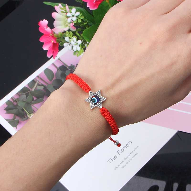 מזל הקבלה אדום מיתרי חוט פטימה חמסה צמידי כחול תורכי עין רעה קסם בעבודת יד נשים ידידות תכשיטים