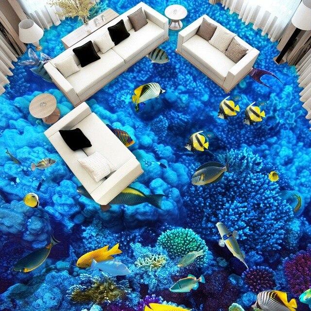 High Quality 3D Bathroom Flooring Paper Custom Size HD Under The Sea 3D  Foor Murals Home