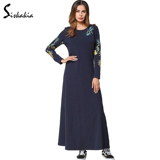 123526463a4 Siskakia Navy Blue Slim fit A line Long Dress Autumn 2017 Women Round neck  long sleeve