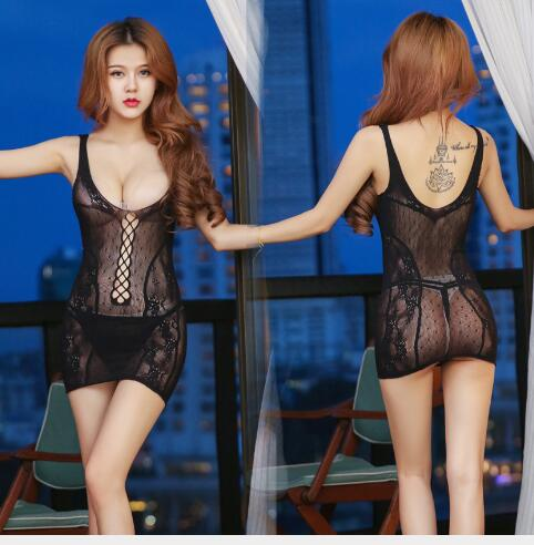 Popular Fashion Women Sexy Black Grid Mesh Dress Sleepwear Nightwear Underwear Lounge   Nightgowns     Sleepshirts   Lover Gift