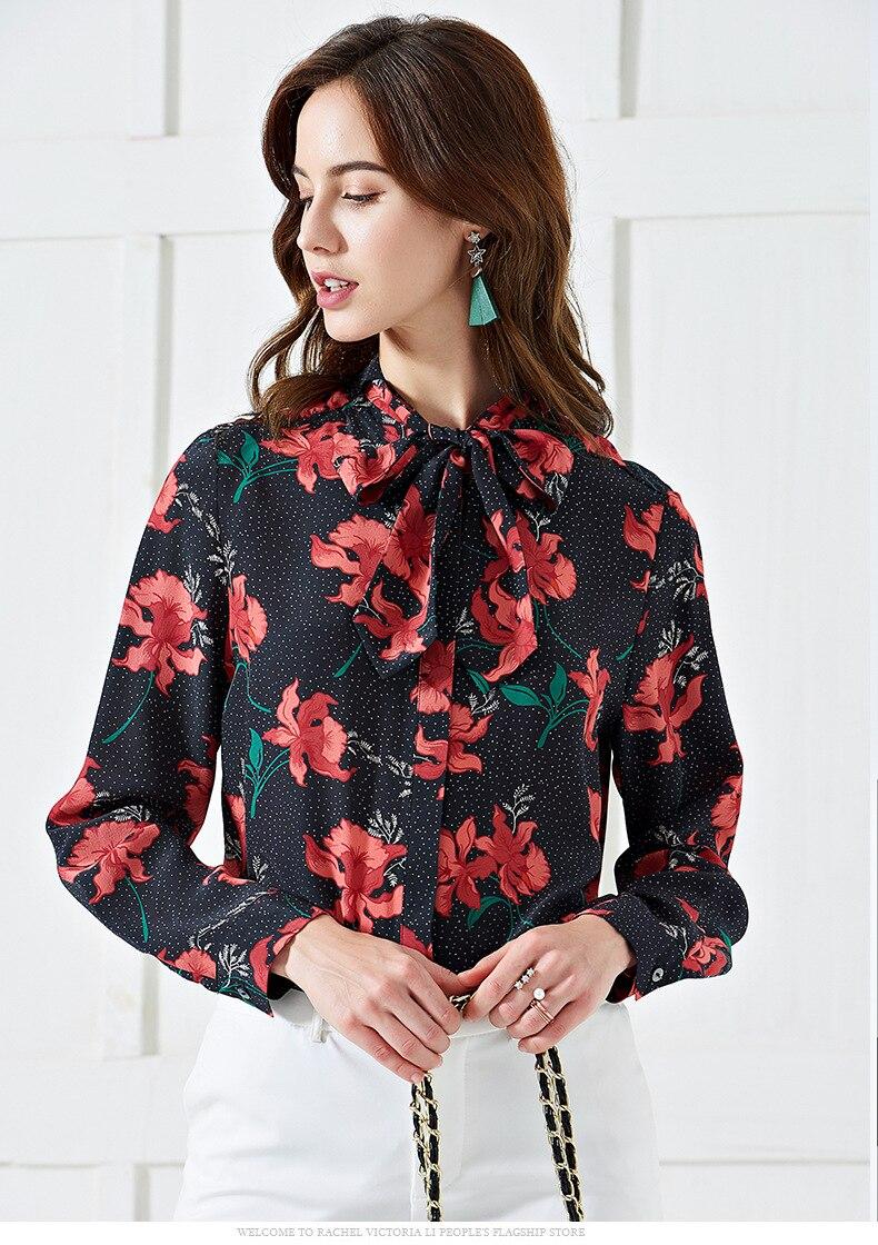 Pani Milan 2019 100% czystego jedwabiu kobiet Runway koszule łuk kołnierz długi rękawy Floral wydrukowano eleganckie bluzki bluzka z krótkim rękawem w Bluzki i koszule od Odzież damska na  Grupa 2