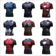 New Avengers Spiderman Deadpool Short Sleeve Men's T-shirts Fitness Running T Shirts Gym Sport Top Tee Clothing Men's Sportswear(China)