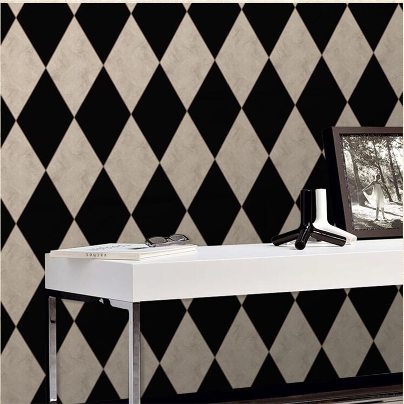 beibehang Luxury European classic wallpaper retro diamond stone wall pattern black and white living room study background wall карабин black diamond black diamond rocklock twistlock