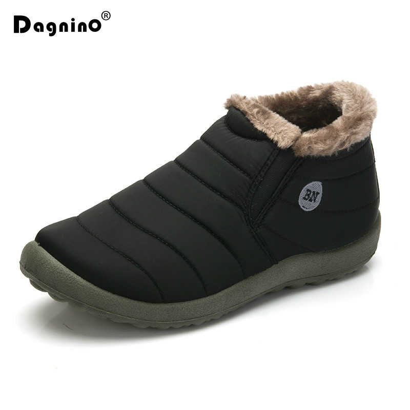 HOT Sale Winter Casual Snow Boots Men Waterproof Ankle Boots Flat Slip-Resistant Fashion Man Winter Warm Shoes Big Size 35-48