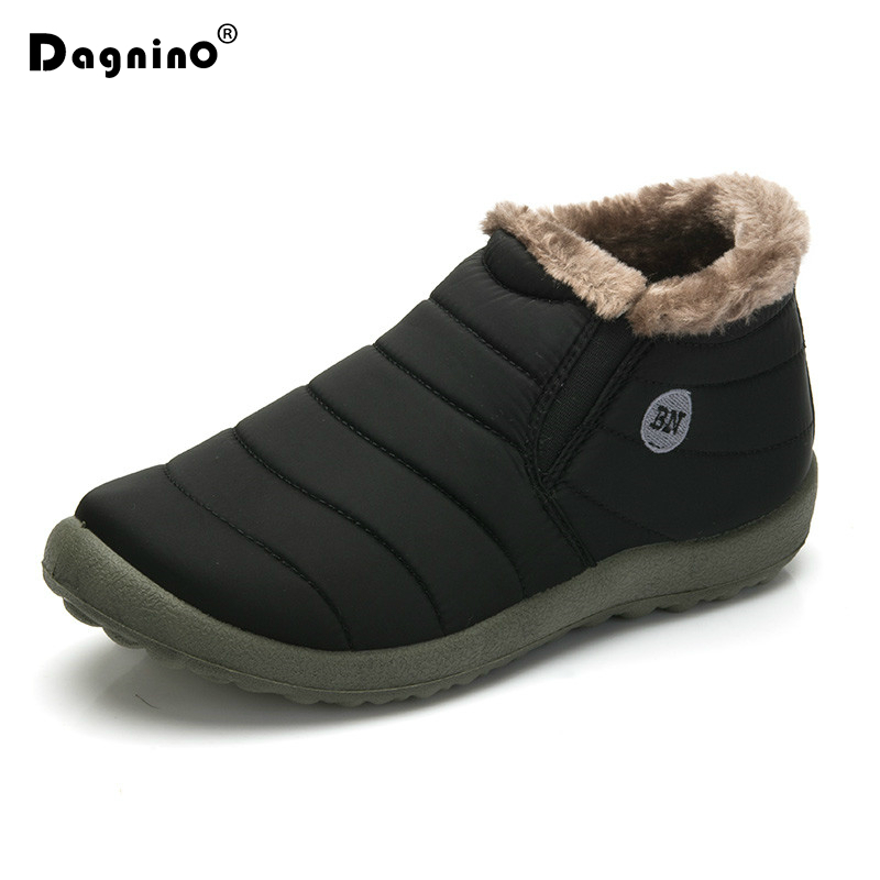 HOT Sale Winter Casual Snow Boots Men Waterproof Ankle Boots Flat Slip-Resistant Fashion Man Winter Warm Shoes Big Size 35-48 image