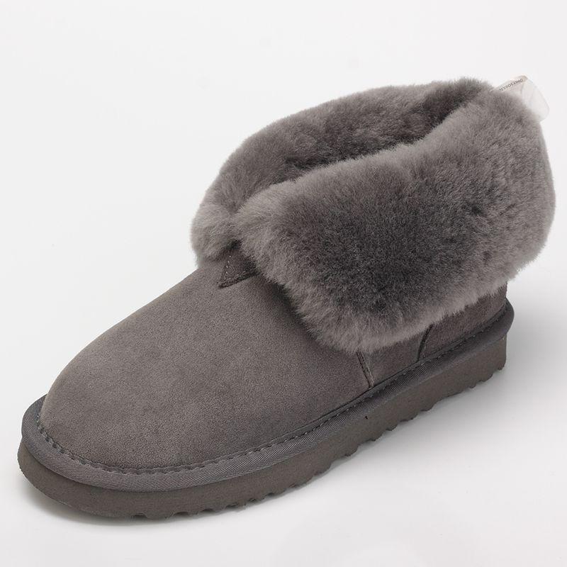 2018 Mujer Cortas chocolate Piel Planos gray Australiana Nieve Cuero Plano Zapatos Botas maroon Oveja Black Fondo De Invierno Mujeres H4q1rH