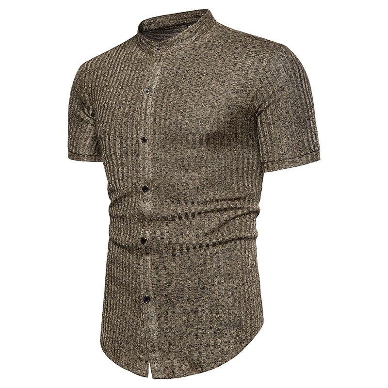 Для мужчин рубашка Африканский Стиль в полоску Дизайн Жаккардовый-окрашенная круглый вырез горловины короткий рукав рубашки чёрный; корич...
