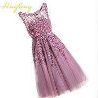 Huifany Elegant Women Short Evening Dresses Red Blue Pink Cheap Tea Length Prom Dresses Lace Appliques