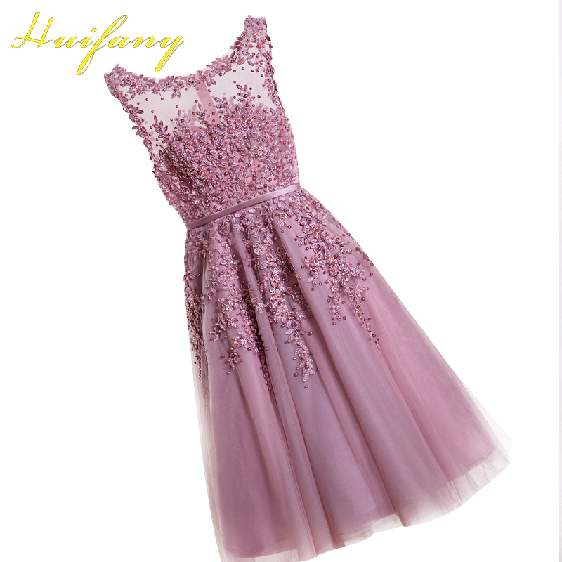 Huifany women short evening dresses 2017 dusty pink cheap tea length prom dresses lace appliques with