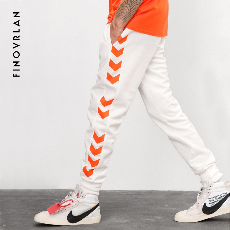 High Street Mens Hip Hop Sweatpants Side Stripe Letter Printing Contrast Color Jogger Elastic Waist Mens SweatPants Streetwear