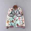 Женщины Пальто Куртки Весна Осень 2016 Мода Вышивка Бабочки Цветочные Птица Печати Основные Куртки Женской Верхней Одежды Casual