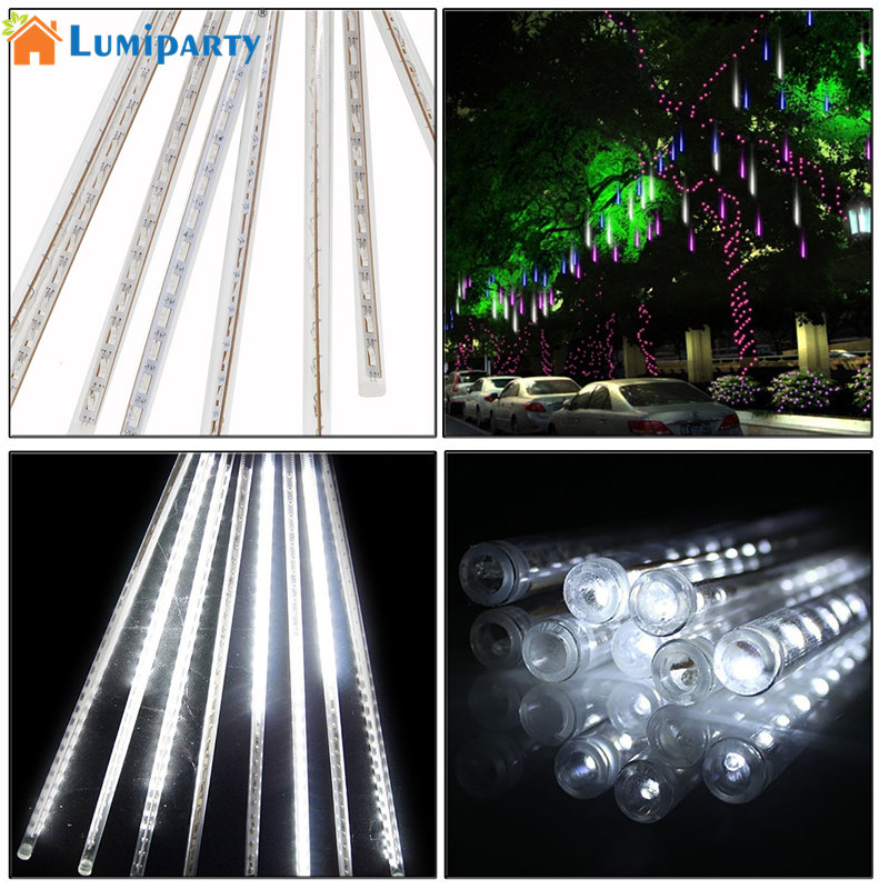 LumiParty 30cm 144 LED Meteor Shower Rain Lights Waterproof 8 Tubes String for Xmas (colorful, US plug)