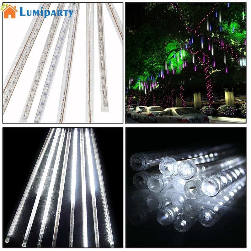 Lumiparty 30 см 144 LED Метеоритный Дождь Огни Водонепроницаемый 8 Трубы строки на Рождество (красочные, США Plug)