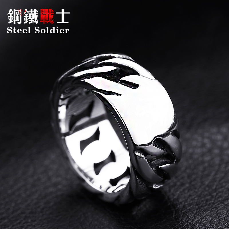 steel soldier titanium steel Gothic chain ring personality retro ring for men stainless steel ring jewelry 5