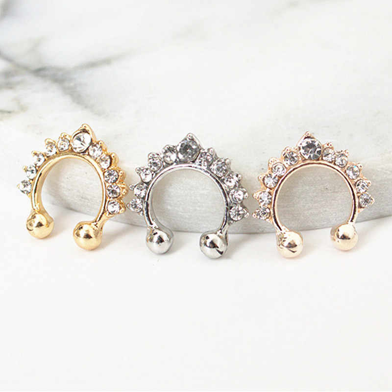 1Pcs New Fashion Crystal Fake Nose Ring Septum Nose Hoop Ring Fake Piercing Clip On Nose Women Jewelry Accessories Gift 3 Colors