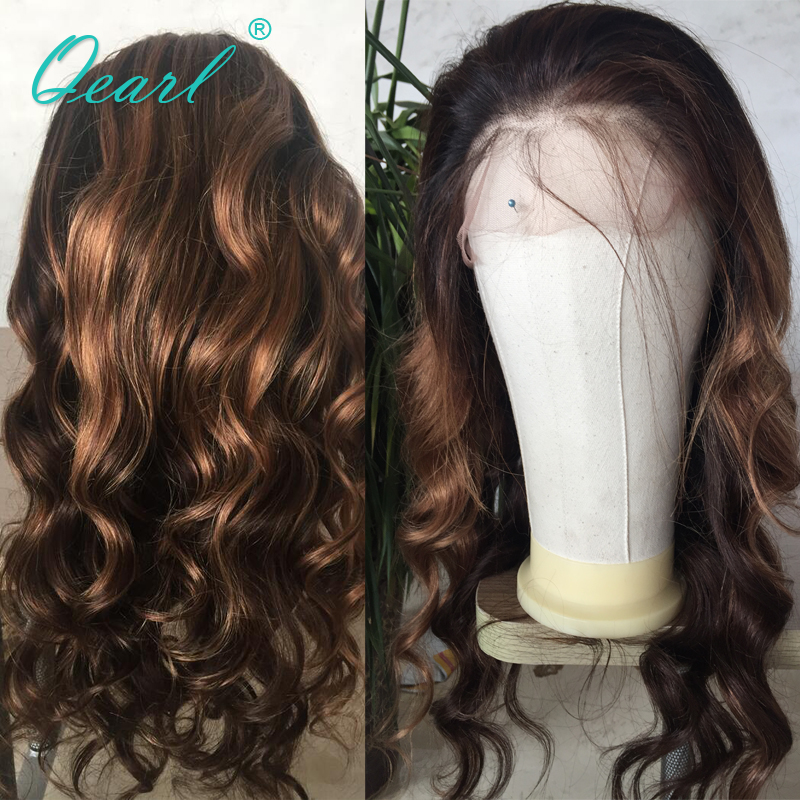 Qearl Lace Front Wig 180% Remy Brazilian Hair Glueless Baby Hair Front Pre Plucked Hairline Wavy Lace Front Wigs 1b/33/30