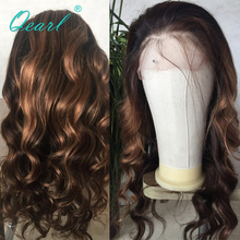 Qearl Lace Front Wig 180% Remy Brazilian Hair Glueless Baby Pre-Plucked Hairline Wavy Wigs 1B/33#/30#