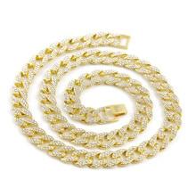 Модные, из цепочки Цепочки и ожерелья 18 дюймов-30 дюймов Rhinestone Золотая цепь для Для мужчин хип-хоп ювелирных изделий Hipster Для мужчин куба цепи