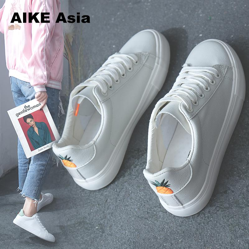 Aike Asia Women Sneakers 2020 Fashion Breathble Vulcanized Shoes Pu Leather Platform Lace Up Casual White Sneaker Tenis Feminino