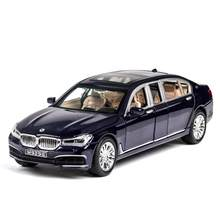 Hot 1:24 scale wheels germany famous brand 760Li metal model with light and sound diecast car pull back toys collection for gift(China)