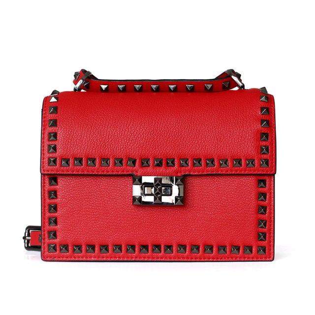 2019 Women Geniune Leather Fashion Rivets Red Handbags Shoulder Bags Ladies Pink Hand Bags Cell Phone Lovely