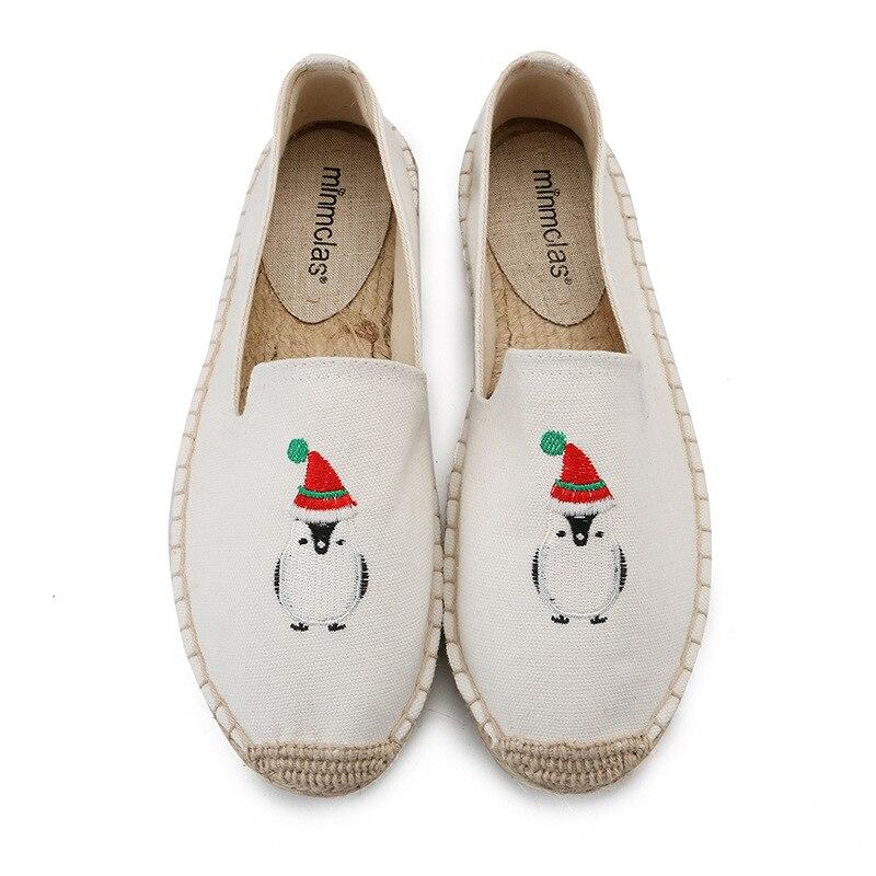 Noël Pingouin Femmes Mode Toile Beige Chanvre Espadrilles Chaussures Lin Occasionnels De Nouvelle Respirant Bleues À Confortable 2018 Rayures Ewqt85xF