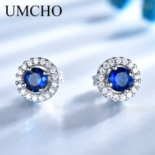 UMCHO Prawdziwa 925 Sterling Silver Biżuteria Okrągły Rich Colour Nano Sapphire Stud Earrings Gemstone Luxury Bride Gift For Women