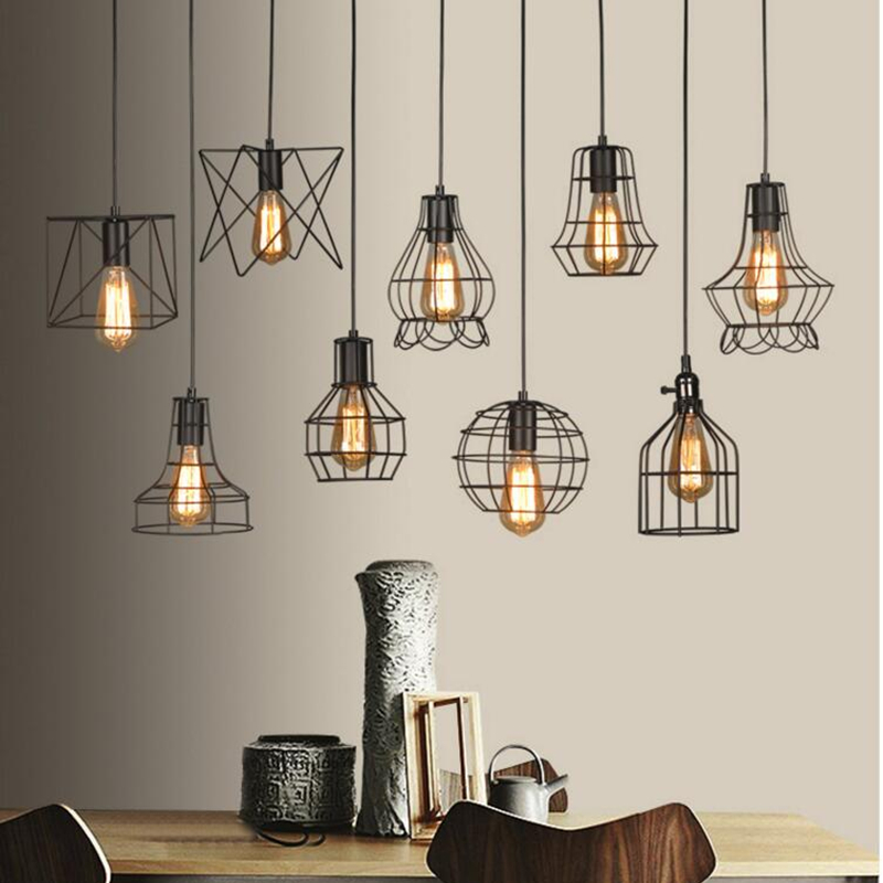 LED Indoor E27modern luz pingente de gaiola de ferro retro minimalista Escandinavo lâmpada sótão pingente de metal Pendurado restaurantLamp