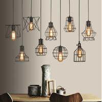 FÜHRTE Indoor E27modern käfig anhänger licht eisen minimalistischen retro Skandinavischen loft anhänger lampe metall Hängen restaurantLamp