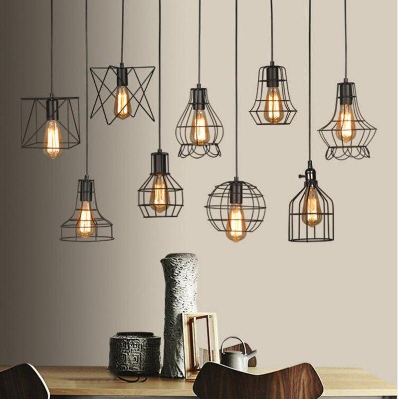 LED intérieur E27modern cage suspension fer minimaliste rétro scandinave loft suspension lampe en métal suspendu restaurant lampe