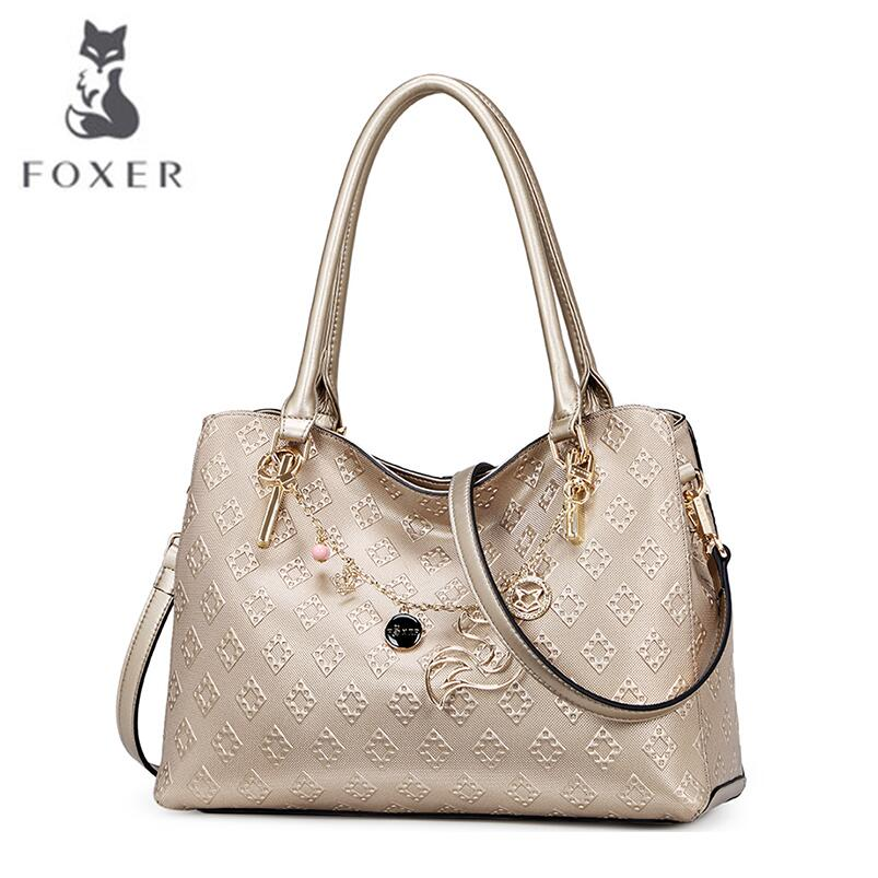 free delivery Cow leather handbag  FOXER   Messenger bag leisure wild European and American fashion handbags Tote cow leather handbag free delivery 2016 fall fashion weave pattern small square package stylish simplicity messenger bag