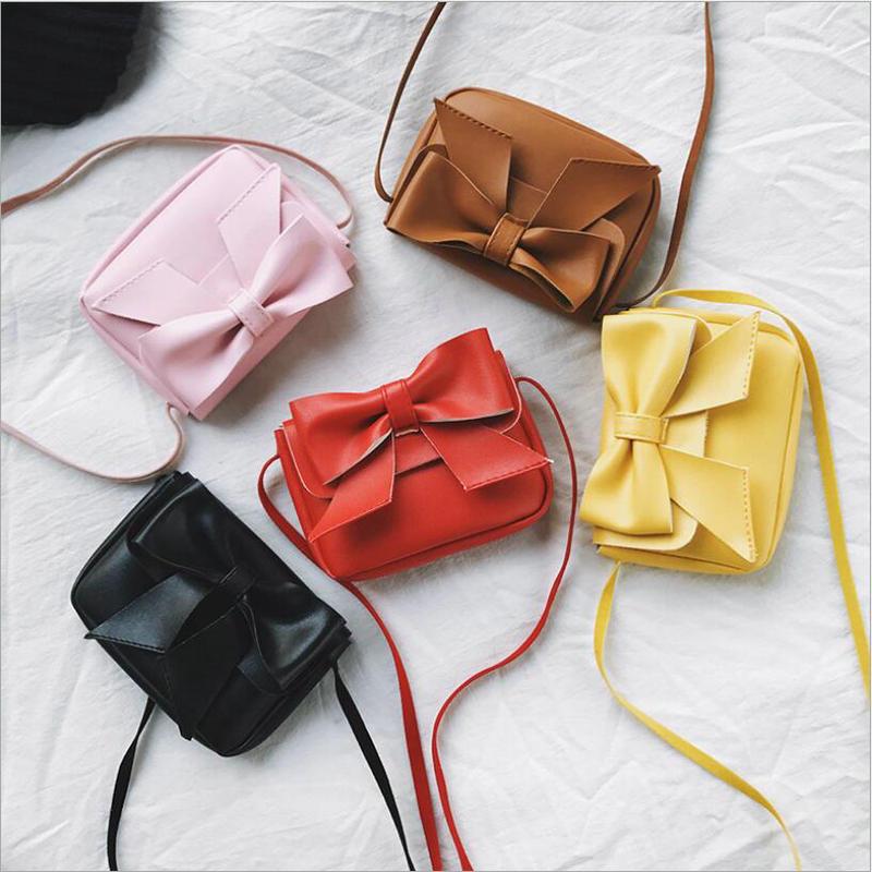New Arrivals Kids Handbag Cute Small Crossbody Bags Mini Children Baby Fashion Girls Princess Bowtie Messenger Bags Candy Colors