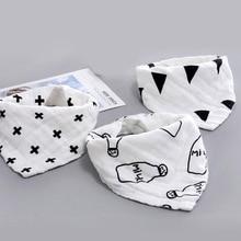 Pretty Baby Bibs Boy Girl Bandana Water Absorb Bib Burp Cloth Triangle Cartoon Cotton Scarf Double Snap Accessory