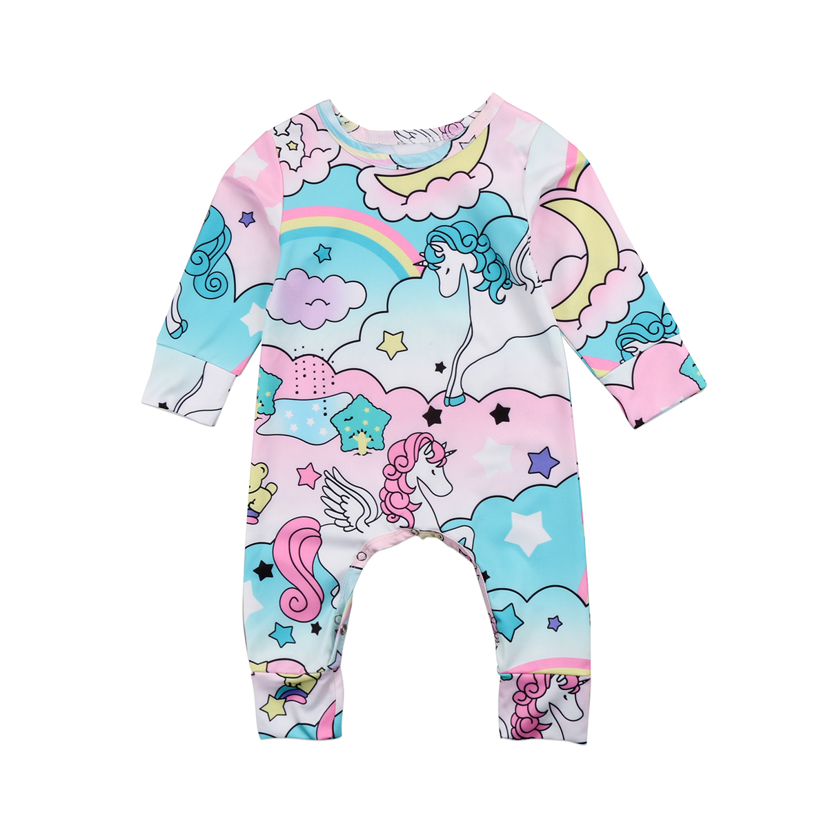 Pudcoco Newborn Kids Baby Unicorn Girls Infant Romper Jumpsuit Long Sleeve Romper Clothes Outfits pudcoco newborn infant baby girls clothes short sleeve floral romper headband summer cute cotton one piece clothes