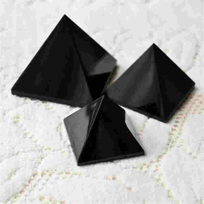 を + + トップ品質の天然黒曜石ヌナタクピラミッド femh 風水装飾厄よけの治癒ピラミッド