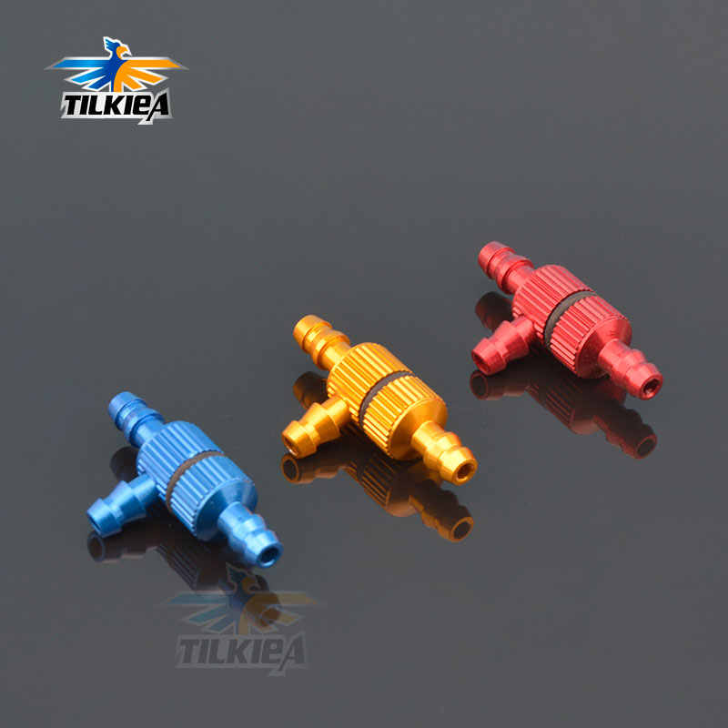 1pc Aluminum T Type 3 Way Fuel Pipe Nozzle with Fuel Filter Filling Nozzle Gasoline Glow Gas Fuel Jointer for RC Airplane