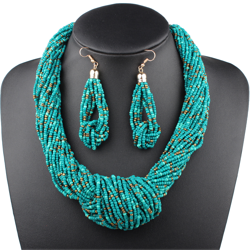 7 Colors Boho Beads Necklace Earrings for Women Multi-Layer Necklace Jewelry Set