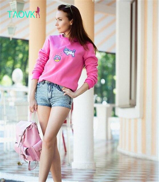 TAOVK Russian style design new 2016 Women sweatshirt pony cartoon printed long-sleeved round neck sweatshirt hedging sweatshirts