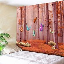Chic Forest Butterfly Tapestry Art Flower Decorative Bohemian Tapestry  Wall Hanging Wall Decor Big Blanket Rectangle Polyester fire and water butterfly pattern wall art tapestry