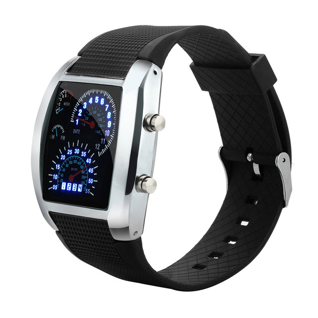 Men's Fashion Silicone Band Watches LED Light Flash Turbo Speedometer Sports Car Dial Meter Watch Sports Clock Relogio Masculino