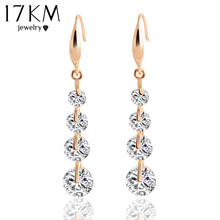 17KM Trendy Rose Gold Color Crystal Dangle Earring Water Drop Zircon Drop Earrings Charming Wedding Brincos Women Pendientes