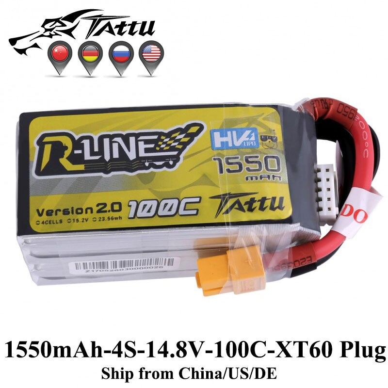 Tattu versión r-line 2,0 1550 mAh 100C 4S 15,2 V Lipo batería XT60 enchufe FPV Racing Drone Quadcopter 3D 250 helicóptero Drone Racer