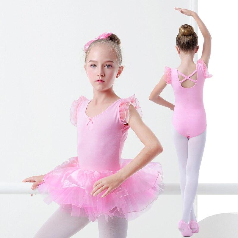 Girls Toddler Ballet Leotards Fluffy Tulle Shoulder Ballet Dance Clothes Pink Cotton Kids Dance Bodysuit
