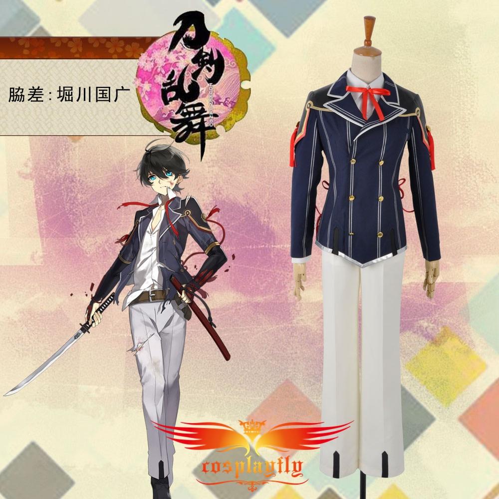 Touken Ranbu Horikawa Kunihiro Cosplay Costume Custom Uniform Short Jacket Pants Adult Men Outfit Clothing Halloween