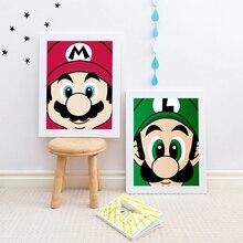 Super Mario Bros принты nintendo Mario Luigi плакат дети стены искусства красочный Декор Супер Марио мир видео игры холст живопись