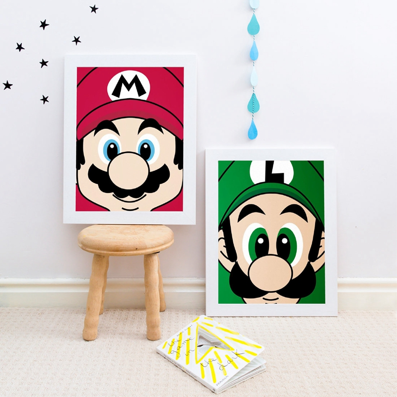 Super Mario Bros Prints Nintendo Mario Luigi Poster Kids Wall Art Colorful Decor Super Mario World Video Game Canvas Painting